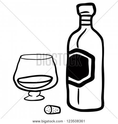 black and white bottle and glass cartoon
