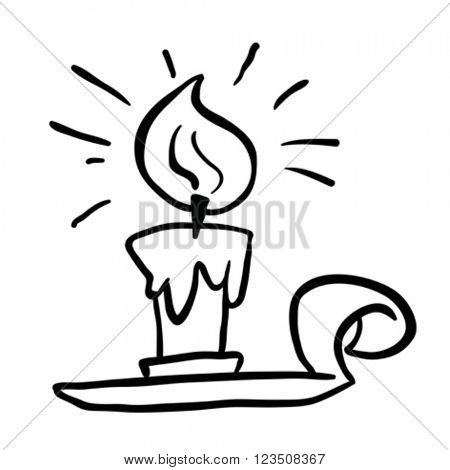 black and white candle cartoon