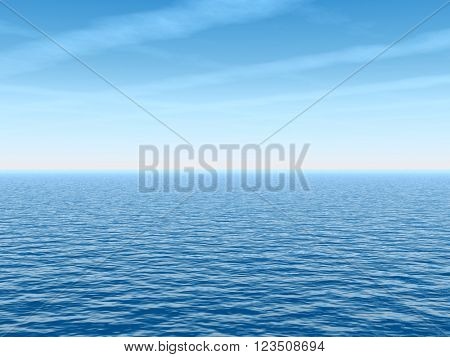 3D illustration concept or conceptual sea or ocean water waves and sky cloudscape exotic or paradise background