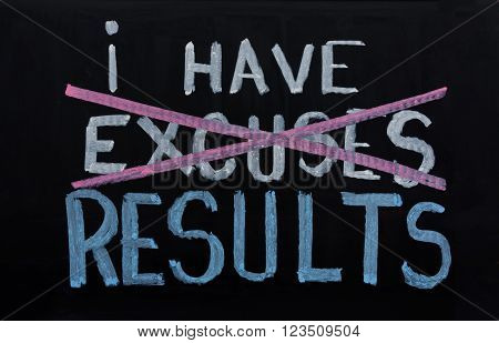 NO EXCUSES. Motivational concept written on chalkboard