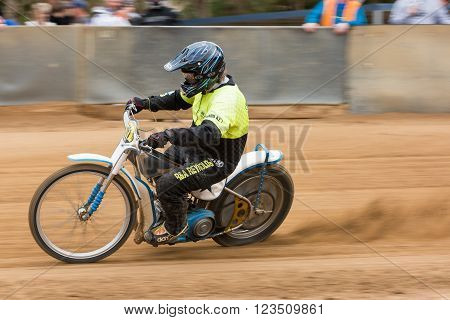 BROADFORD VICTORIA/AUSTRALIA - MARCH 26 2016: Classic Speedway action at The Broadford Bike Bonanza at the Broadford Motorcycle Complex near Melbourne.