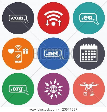 Wifi, mobile payments and drones icons. Top-level internet domain icons. Com, Eu, Net and Org symbols with cursor pointer. Unique DNS names. Calendar symbol.