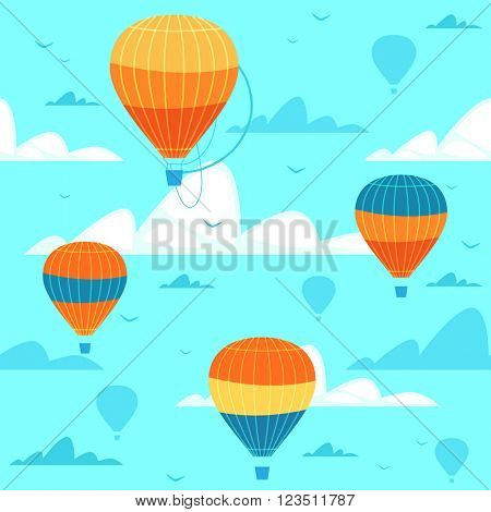Seamless pattern with hot air balloons. Vector illustration