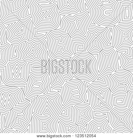Abstract vector pattern with letters in an organic maze. Seamless texture.