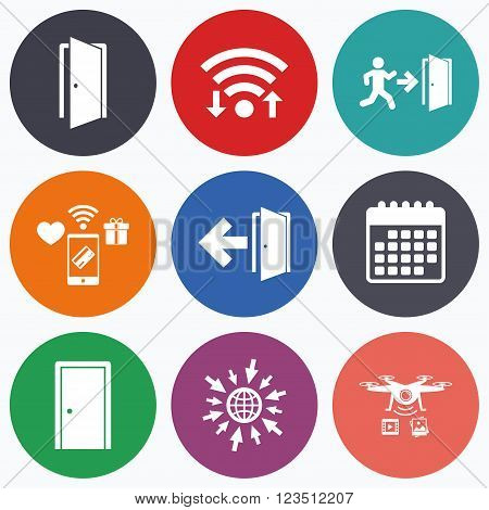 Wifi, mobile payments and drones icons. Doors icons. Emergency exit with human figure and arrow symbols. Fire exit signs. Calendar symbol.