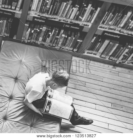 Boy Reading Book Studying Knowledge Concept