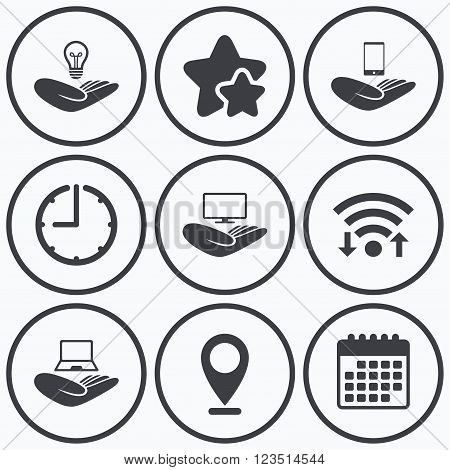 Clock, wifi and stars icons. Helping hands icons. Intellectual property insurance symbol. Smartphone, TV monitor and pc notebook sign. Device protection. Calendar symbol.