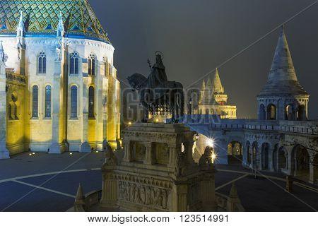 Matthias Church At Night in Buda Castle , Budapest