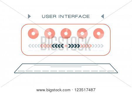 Light web UI elements design gray mono line user interface elements buttons, switches, slider, mix, equalizer vector.