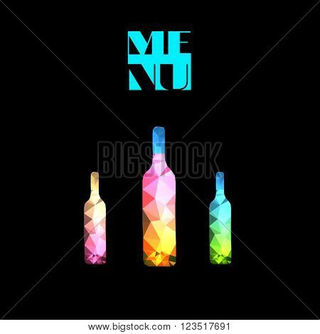 wine bottle polygon design easy all editable