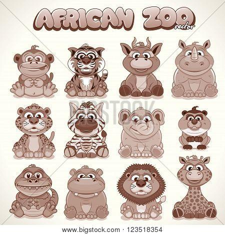 Cute Cartoon African Animals. Set of Safari Characters. Retro Colored Vector Illustration