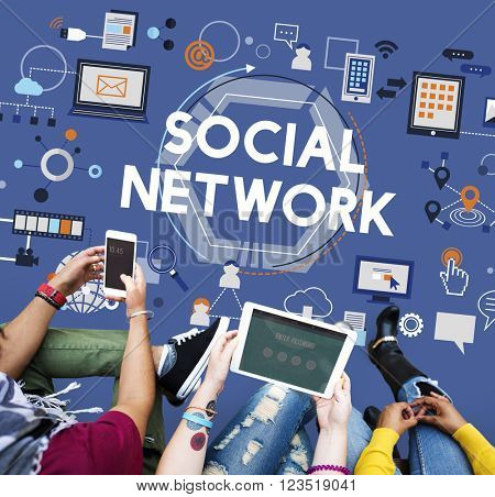 Social Network Communication Media Technology Concept