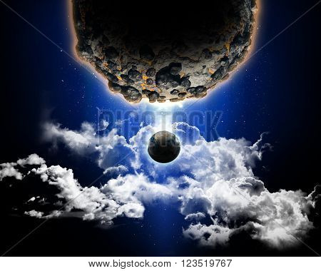 3D space scene with planets - elements of this image furnished from NASA