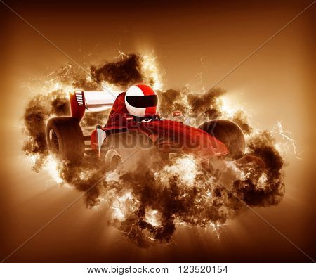 3D render of a man in a race car with storm effect