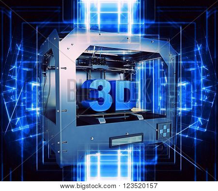 3D render of a 3D printer with a futuristic design