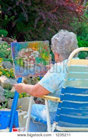 an artist enjoying a tranquil setting