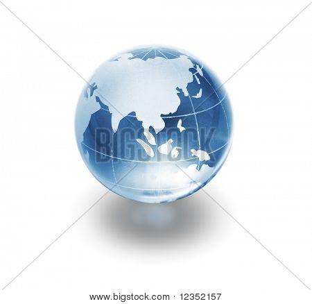 glass globe on white background