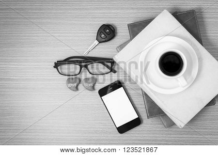 wooden working table with tools for work.black and white tone coiour