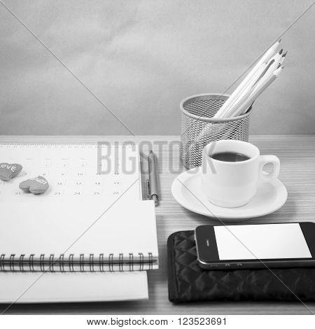 wooden working table with tools for work.black and white tone colour