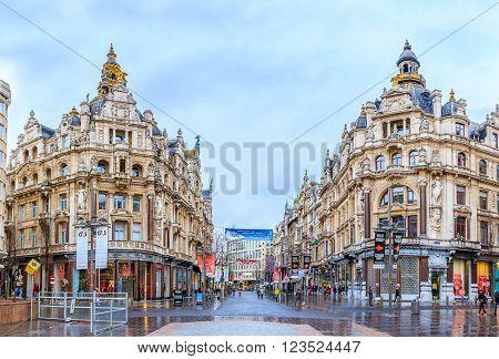 Cityscape Of Antwerp Belgium In The Rain