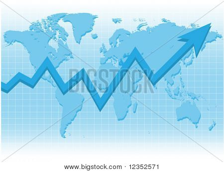 Graph on world map.