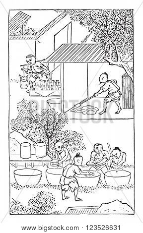 Wash the soft earth of kaolin, vintage engraved illustration. Magasin Pittoresque 1857.