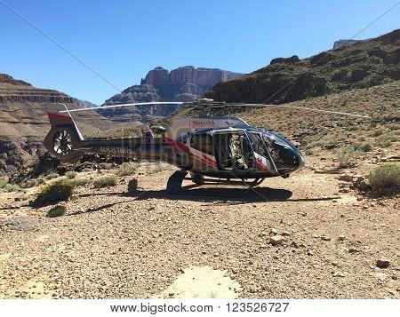 GRAND CANYON, ARIZONA - MARCH 26, 2016: Maverick Airbus Helicopter EC130 landed at Grand Canyon