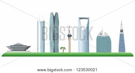 Riyadh Saudi Arabia skyline color silhouette vector