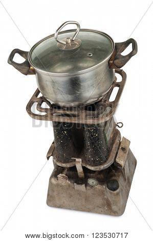 Old kerosene primus with a pan