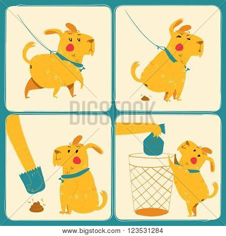 Clean after your dog. Vector illustration. Set