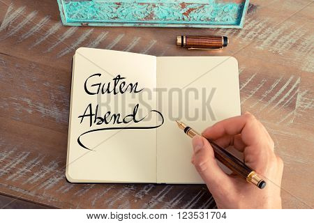 """Handwritten Text In German """"guten Abend""""  - Translation : Good Evening"""