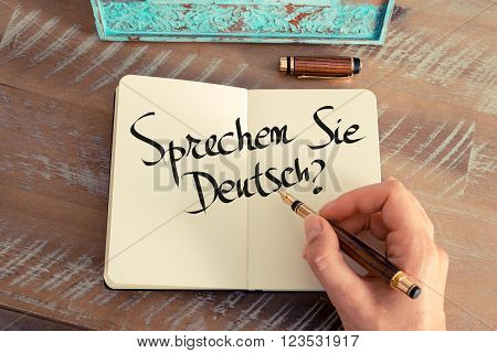 "Handwritten Text ""sprechen Sie Deutsch?"" In German - Translation : Do You Speak German?"