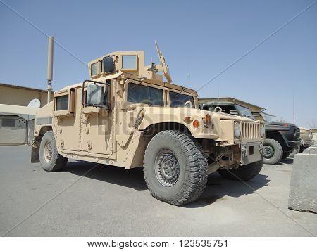 MAZAR E SHARIF / AFGHANISTAN - AUGUST 2010: american army transporter