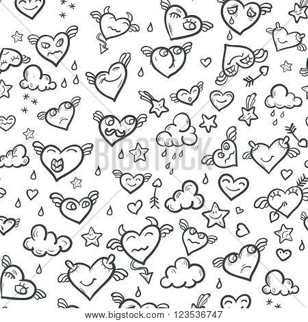Foolish hearts background with foolish hearts and clouds