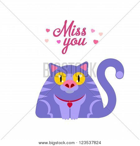 Miss you typography card with flat style cat illustration. Missing cat funny character.
