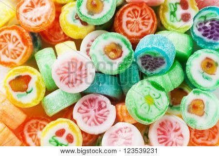 Colorful candies lollypops background