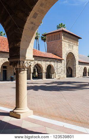 Palo Alto, Ca/usa - Circa June 2011: Main Quad Of Stanford University Campus In Palo Alto,  Californ