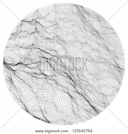 Wave Grid Background. 3d Abstract Vector Illustration. Ripple Grid. Cyberspace Grid. 3D Technology Style. Illustration with Dots. Network Design with Particle.