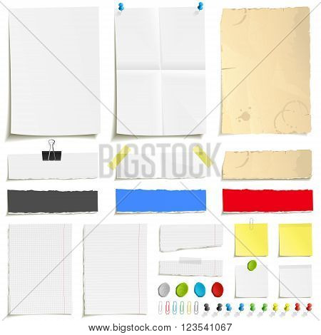 White folded paper, grungy old paper, ragged sheets of paper, blank squared and lined notepad pages and elements for attaching paper. Pin, scotch tape and paperclip set