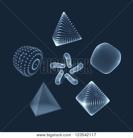 Cylinder, Cube, Star and Octahedron. Illustration Consisting of Points. 3D Grid Design. Object with Dots. Geometric Shape for Design. Molecular grid. 3D Technology Style with Particle.