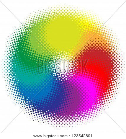 Colorful halftone circle background vector for design