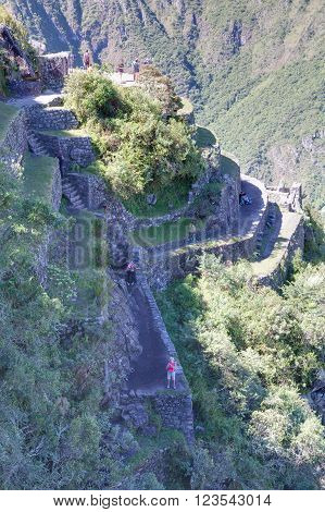 Machu Picchu, Aguas Calientes/peru - Circa June 2015: Terraces From The Top Of Machu Picchu Sacred L