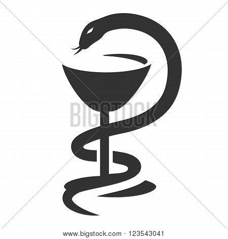 Bowl of Hygieia, serpent. Medical symbol, symbol of pharmacy, emblem medicine, medical sign, snake and a bowl. Vector illustration