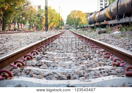 the blurred of railway in the park