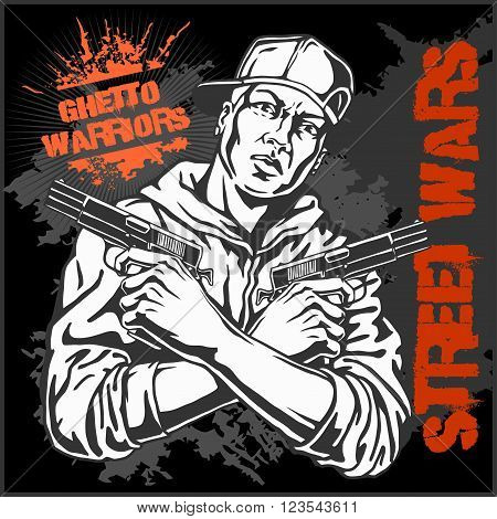 Ghetto Warriors vector illustration. Gangster on dirty graffiti dark background.