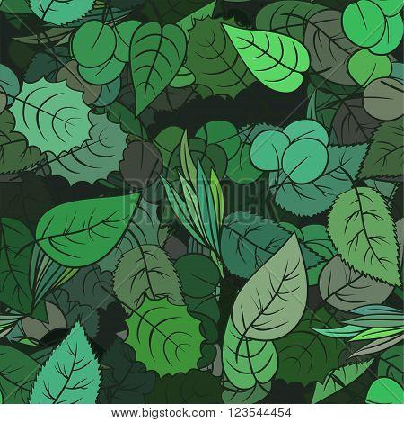 Spring leaves seamless pattern, seasonal vector background.