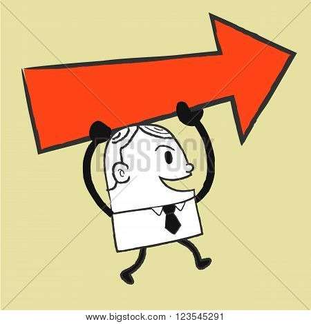 Businessman holding red arrow , man with red arrow