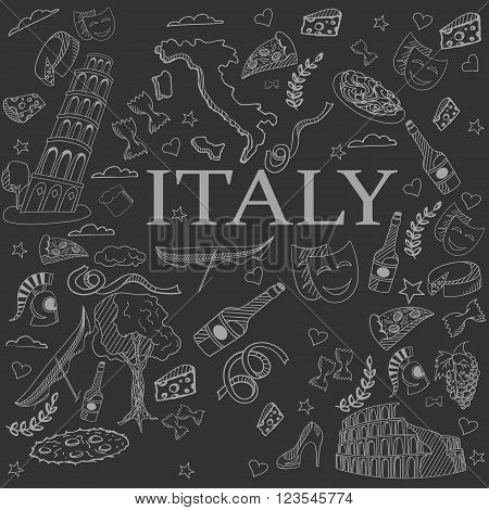 Italy chalk line art design vector illustration. Separate objects. Hand drawn doodle design elements.