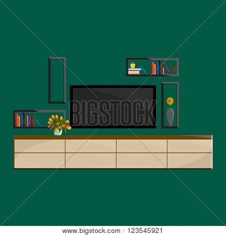 Living room Interior. Modern flat design of living room illustration. Living room wall. Furniture for living room. Living room in flat style. Concept for living room. Living room interior set.