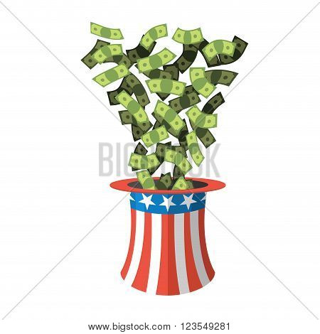 Uncle Sam Hat And Money. American Hat. Hat For Independence Day. Cylinder Uncle Sam And Dollars. Cas